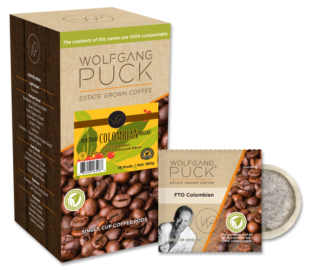 Wolfgang Puck Colombian FTO Coffee Pods